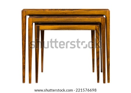 Set of 3 stacking tables - stock photo