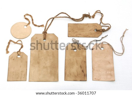 Set of stained hang tags