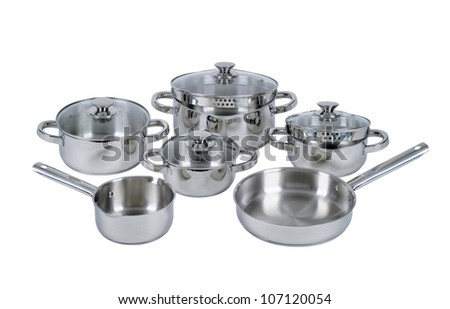 Set of stainless steel pots and pans - stock photo