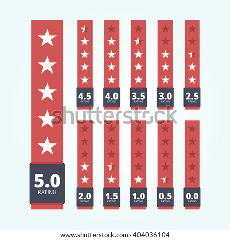 Set of star rating badges. Vertical banners.  - stock photo