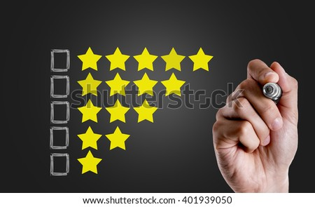 Set of 5 star rating elements starting from 1 star with blank space for questions - stock photo