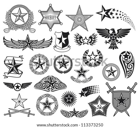 set of stars (star collection) - stock photo