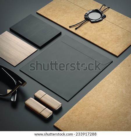 Set of stationery elements on paper background - stock photo