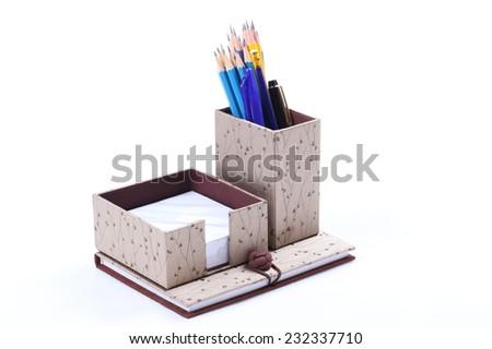 set of stationery isolated on white background - stock photo