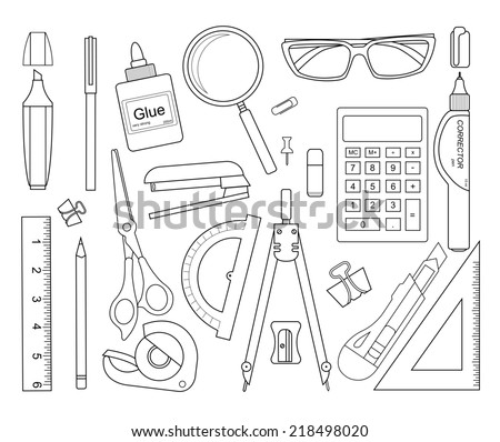 Set of stationery tools outlines: marker, paper clip, pen, binder, clip, ruler, glue, zoom, scissors, scotch tape, stapler, corrector, glasses, pencil, calculator, eraser, knife, compasses, protractor - stock photo