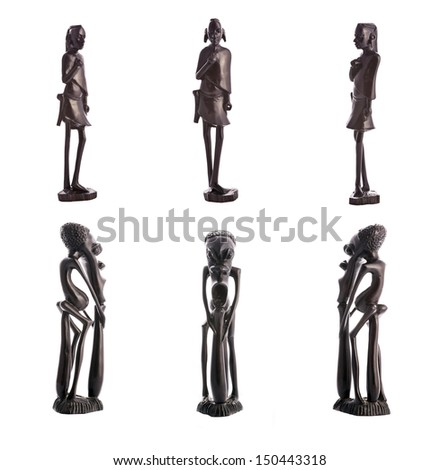 Set of 6 statue of a warrior masai and african sorcerer carved from ebony - Tanzania - stock photo