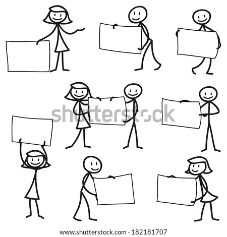 Set of stick figures: Stick man pointing and holding blank signs.