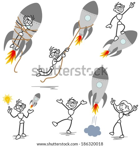 Set of stick figures: Stickman with rocket, startup, entrepreneur, teamwork, tied and fired. - stock photo