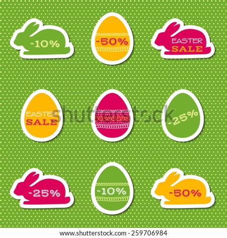 Set of stickers for easter sale. Raster version