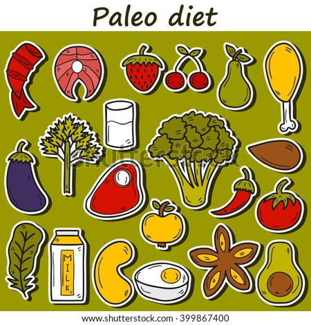 Set of stickers in hand drawn cartoon style on paleo diet theme: meat, fish, fruits, vegetables, spices, nuts. Healthy food concept for paleo diet design. Cartoon fresh products. Healthy diet concept - stock photo