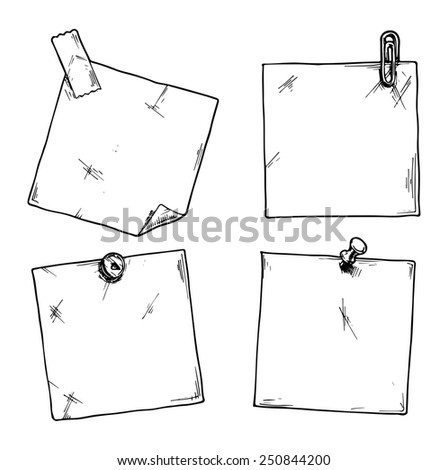 Set of stickers with a clip, office pins and scotch tape. - stock photo