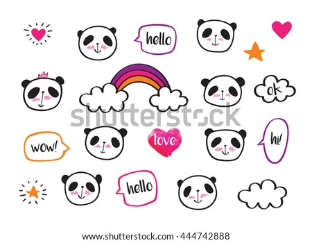 Set of stickers with cute pandas and bubbles. Badges for clothing. Doodles, sketch for your design. Hand drawing. - stock photo