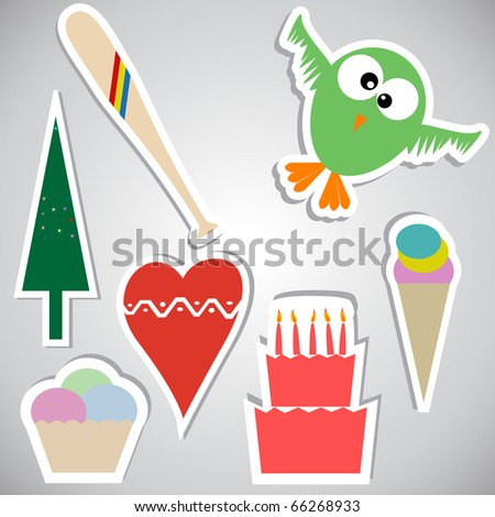 Set of stickers with different objects.Vector version available in my gallery. - stock photo