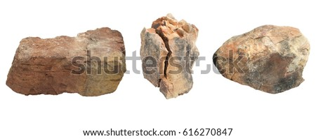 Set of stones isolated on white background.clipping paths