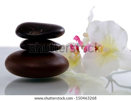 set of stones with flower - stock photo