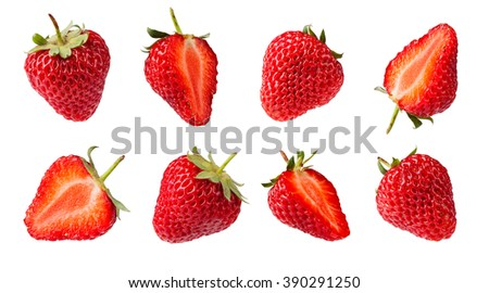 set of Strawberries. Isolated on a white background. Collection - stock photo