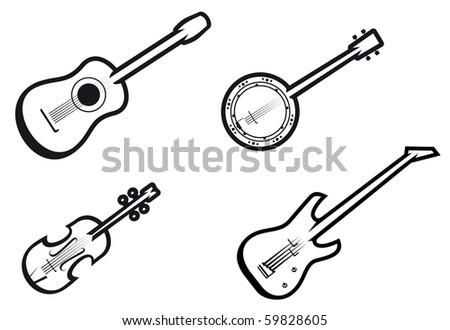 Set of string musical instruments. Vector version also available in gallery
