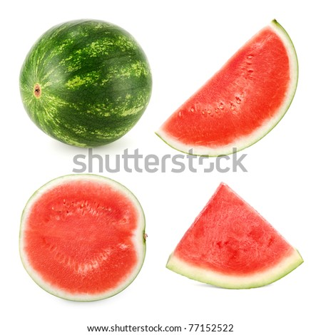 Set of 4 studio shots of a seedless ripe watermelon cut differently and whole - stock photo