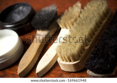 Set of stuff for cleaning and polish shoes - stock photo
