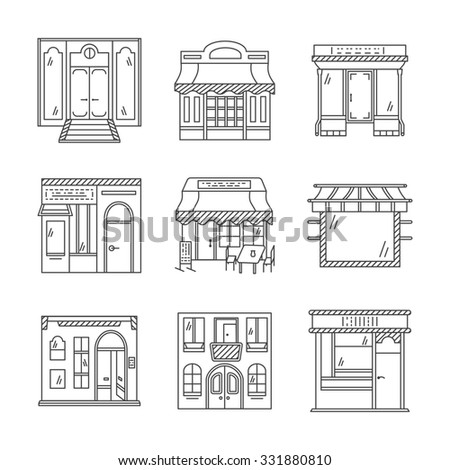 Set of stylish flat line design icons for commercial buildings facade. Showcase and storefronts. Elements of web design for business and site. - stock photo
