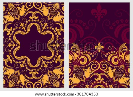Set of stylish template for design invitations and greeting cards. Flower elegant pattern mandala in Damascus style. Rasterized version. - stock photo