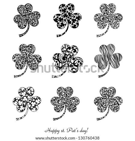 Set of stylized clover leaves isolated on white.  Illustration - stock photo