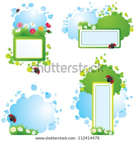 Set of summer backgrounds and frames with grass, flowers and ladybirds. Raster version - stock photo