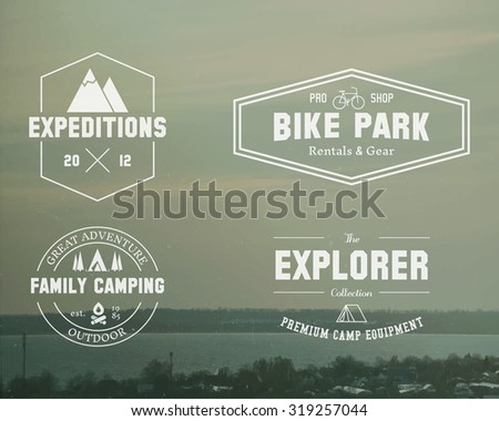 Set of Summer explorer, family camp badge, logo and label templates. Travel, hiking, biking style. Outdoor. Best for adventure sites, travel magazine etc. On blurred vintage background. . - stock photo