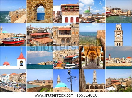Set of summer photos in Akko (Acre), Mediterranean Sea, Israel (my photos). - stock photo