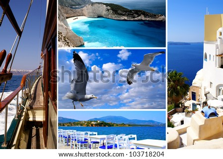 Set of summer photos of Cyclades islands, Greece - stock photo