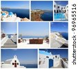 set of summer photos of Santorini island Greece - stock photo