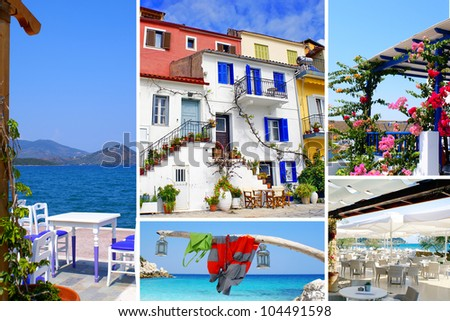 Set of summer photos (travel in Greece) - stock photo