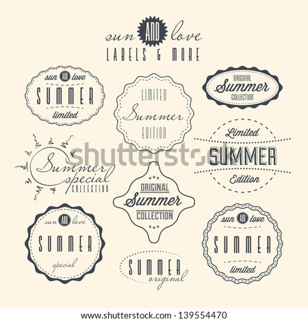 Set of summer related vintage labels. Vector EPS version also available in portfolio. - stock photo