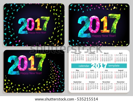 Set of sunday start pocket calendars 2017 with black cover.
