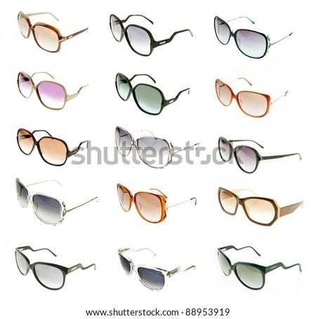 set of sunglasses isolated on white background - stock photo