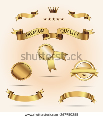 Set of Superior Quality and Satisfaction Guarantee Ribbons, Labels, Tags. Set of golden  ribbons for your text  - stock photo