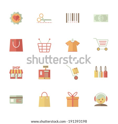 Set of supermarket services and shopping icons with bar code  tags  merchandise money bank card delivery till payment call centre customer services gift bag basket and trolley