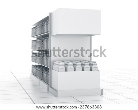 set of supermarket shelves in perspective with blank products - stock photo