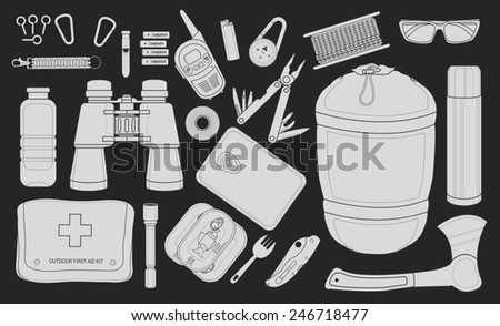 Set of survival camping equipment flashlight, canned food, fork, food container, pocket knife, ax, carabiner, whistle, batteries, radio set, lighter, compass and others. Chalkboard illustration