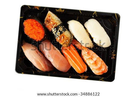 Set of sushi isolated over white background