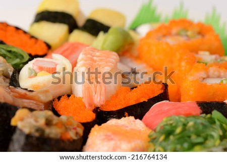 Set of Sushi Roll Japanese food seafood close up