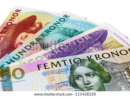 Set of Swedish krona banknotes isolated on white background - stock photo