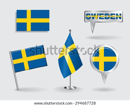 Set of Swedish pin, icon and map pointer flags. Raster version - stock photo
