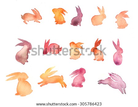 Set of sweet Happy rabbit illustration. Watercolor rabbit silhouette. Mid-Autumn festival. lovely background with hare. Funny doodle bunny. Watercolor bunny