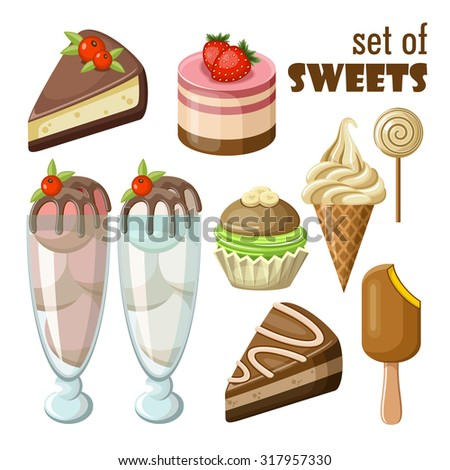 Set of sweets. Raster illustration