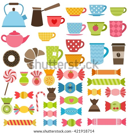 Set of sweets, tea and coffee cups. Raster version - stock photo