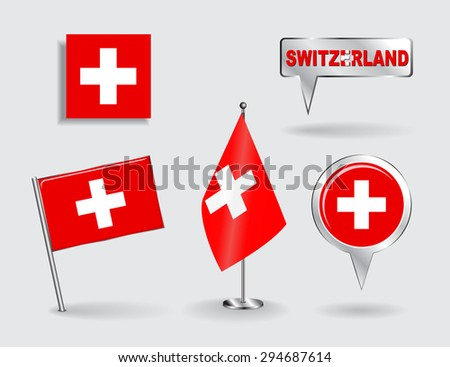 Set of Swiss pin, icon and map pointer flags. Raster version - stock photo
