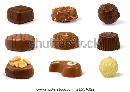 Set of swiss pralines isolated over a white background. - stock photo
