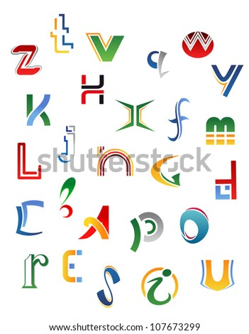 Set Symbols Letters Icons Alphabet Design Stock Illustration