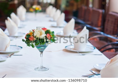 Set of table with flowers